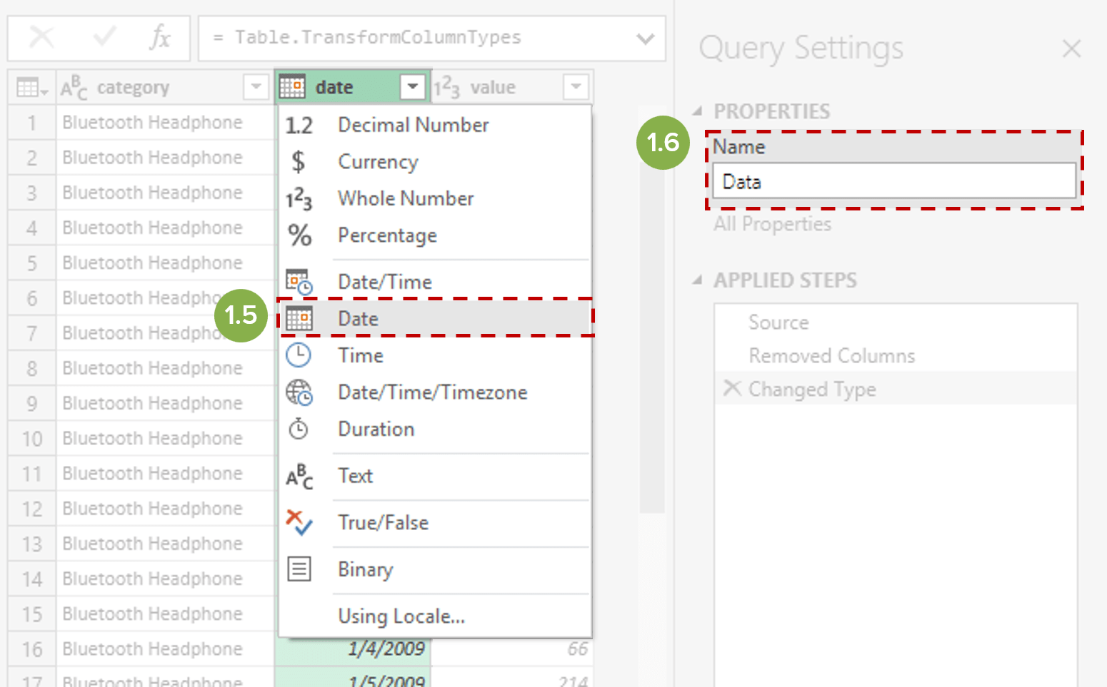 Power Query set Date data type and name query for easy reference
