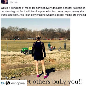 Celebrity trainer and author Erin Oprea working out while at her kids' soccer practice.