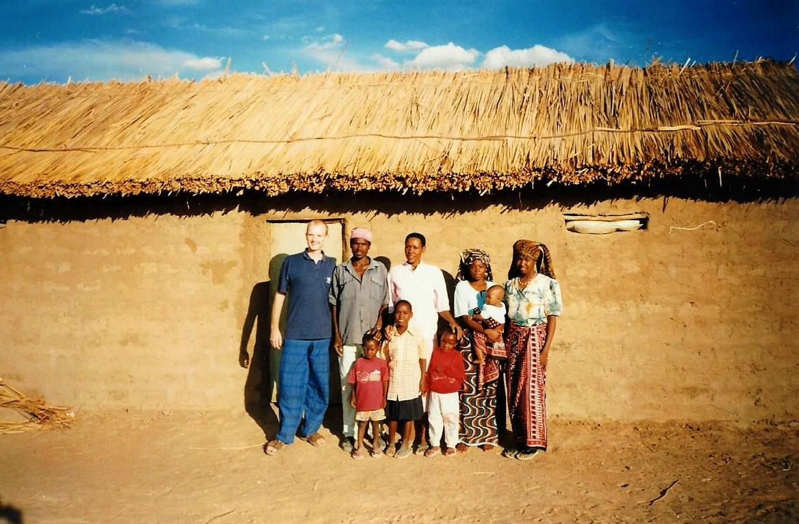 2008 - Me (left) in a village in Tanzania
