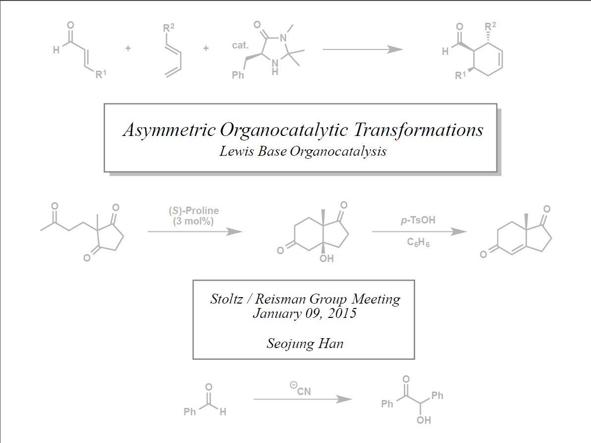"2015:""Asymmetric Organocatalytic Transformations"""
