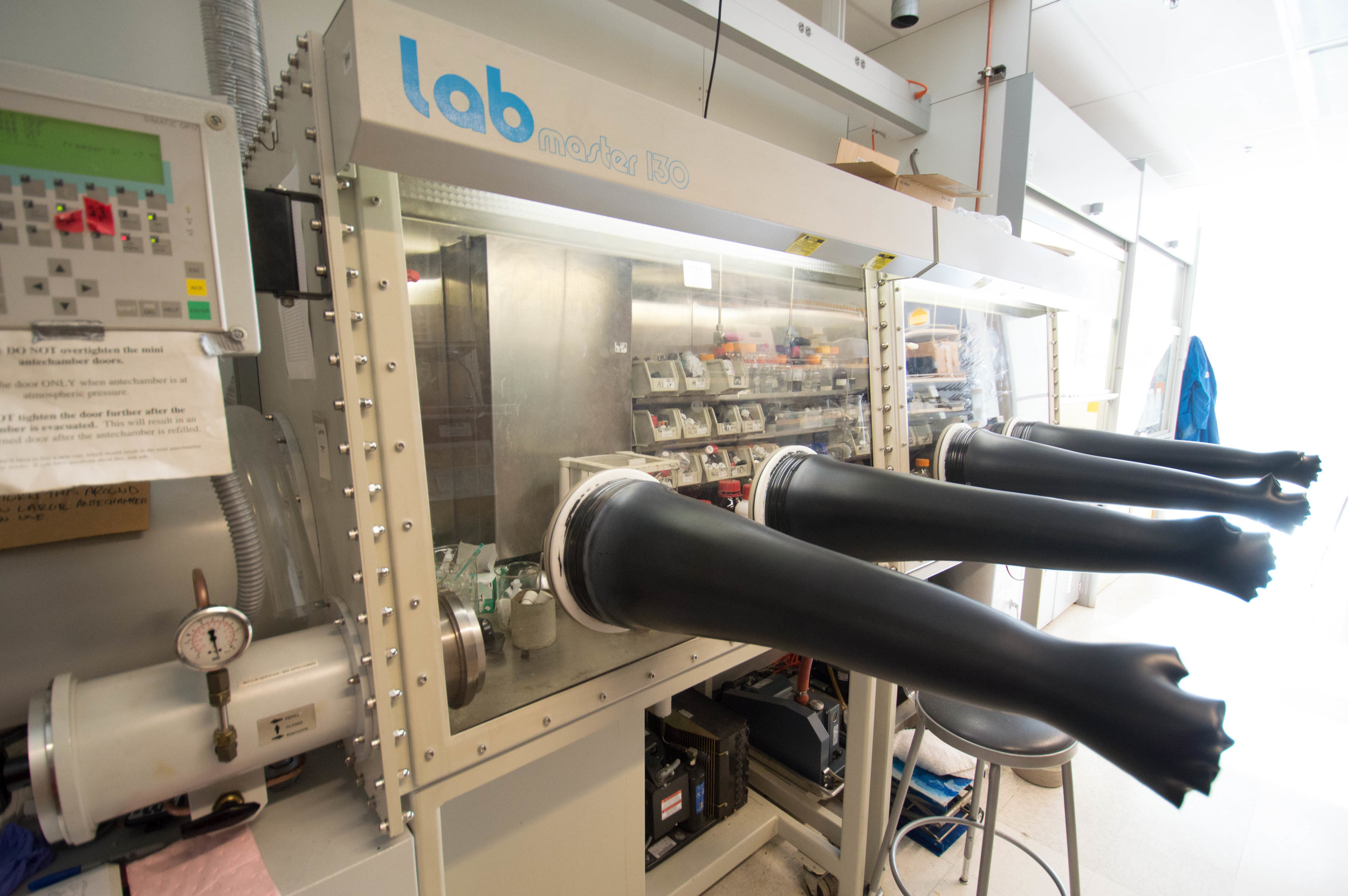 The group has a two-section glove box for working with air or water sensitive reagents