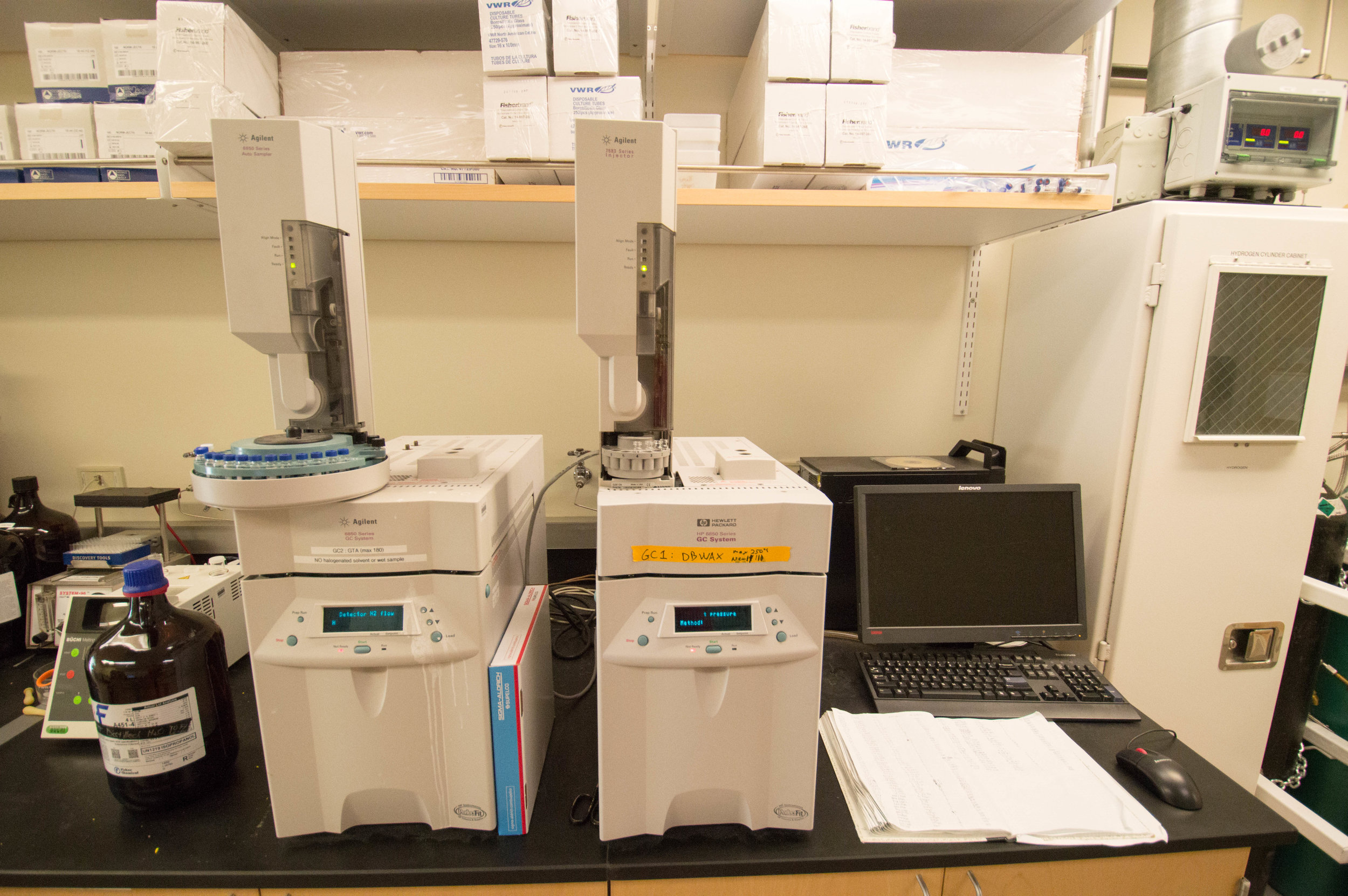 We also have GCs, equipped with autosamplers, which we use for both analytical and chiral separation purposes