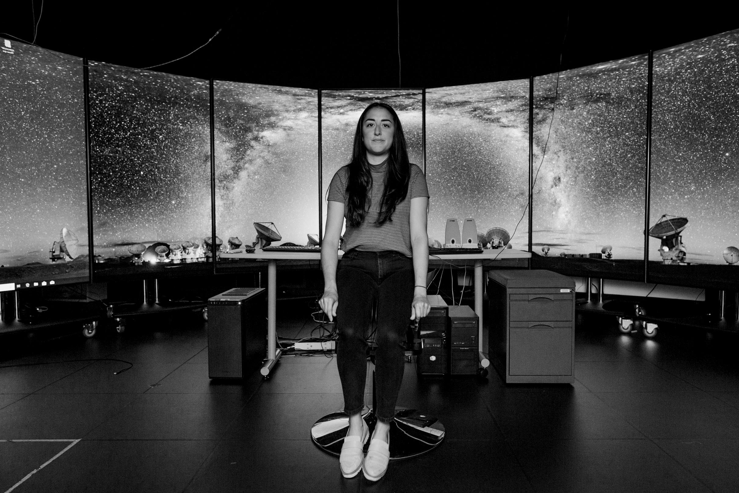 Lighting Gear: - Arri LED SkypanelShot through 5x5' ScreenLeft: Assistant Alexa Mazzarello Sits as a test subject before we start.