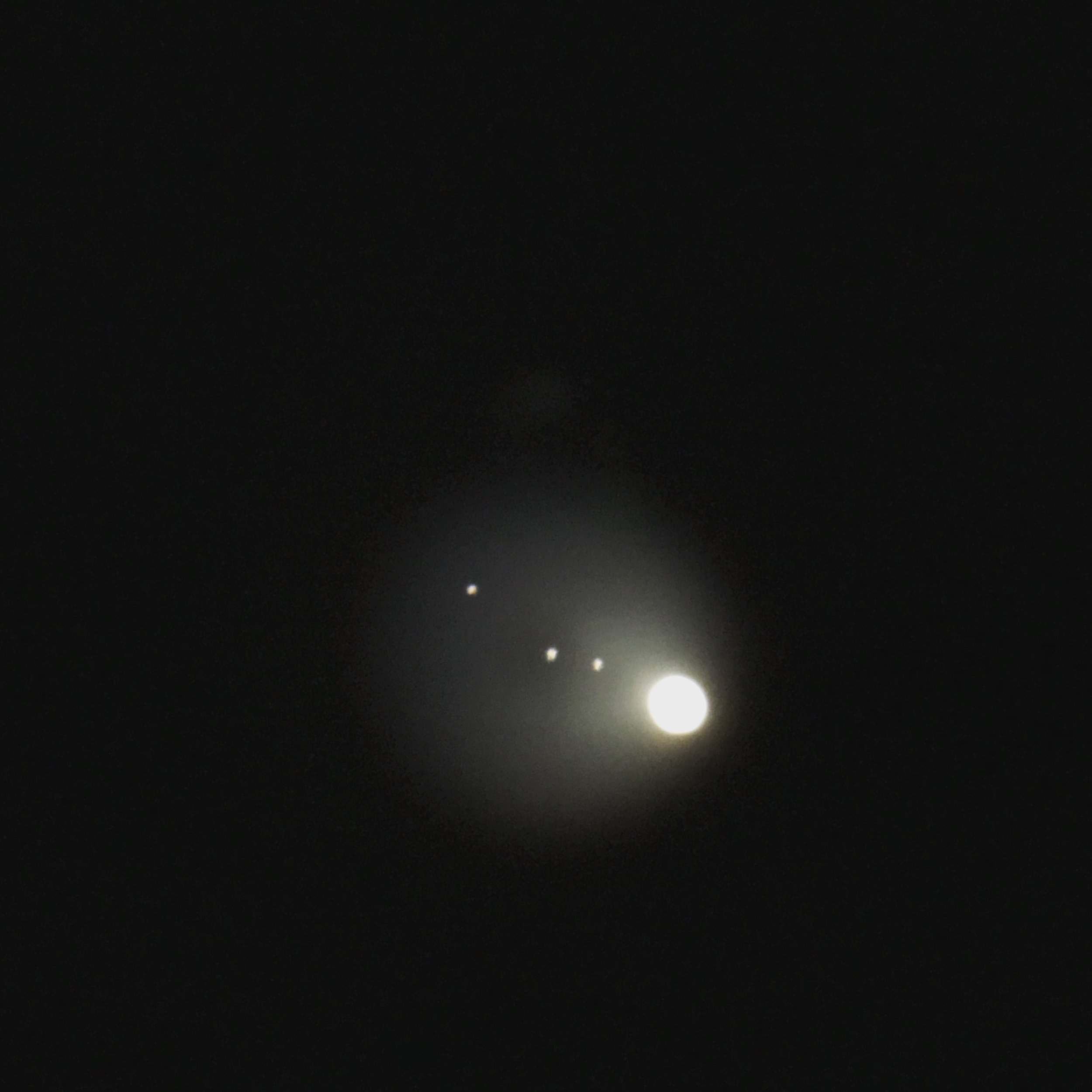 An i-phone photo taken through the telescope at the end of our shoot of Jupiter and her four moons!