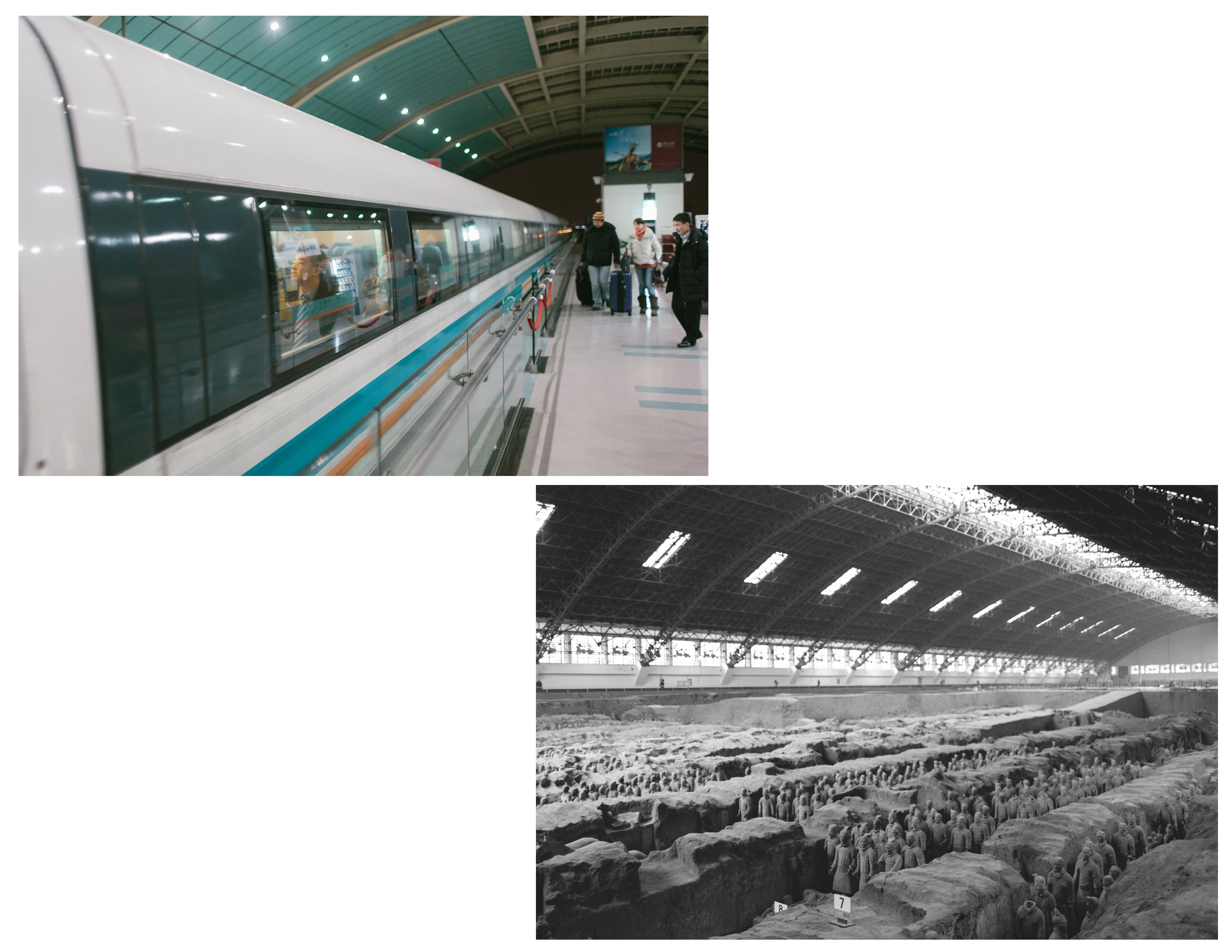 Two images centuries apart - The first one of the Maglev Train in Shanghai, the second of an active archeological dig site in Xi'an China. . The juxtaposition of the ancient terracotta warriors and the fastest, modern commercial train in the world (traveling 603km/h) side by side with such similar composition was too perfect.    Two feats of human ingenuity linked centuries apart. The past and the future. Forward and back.