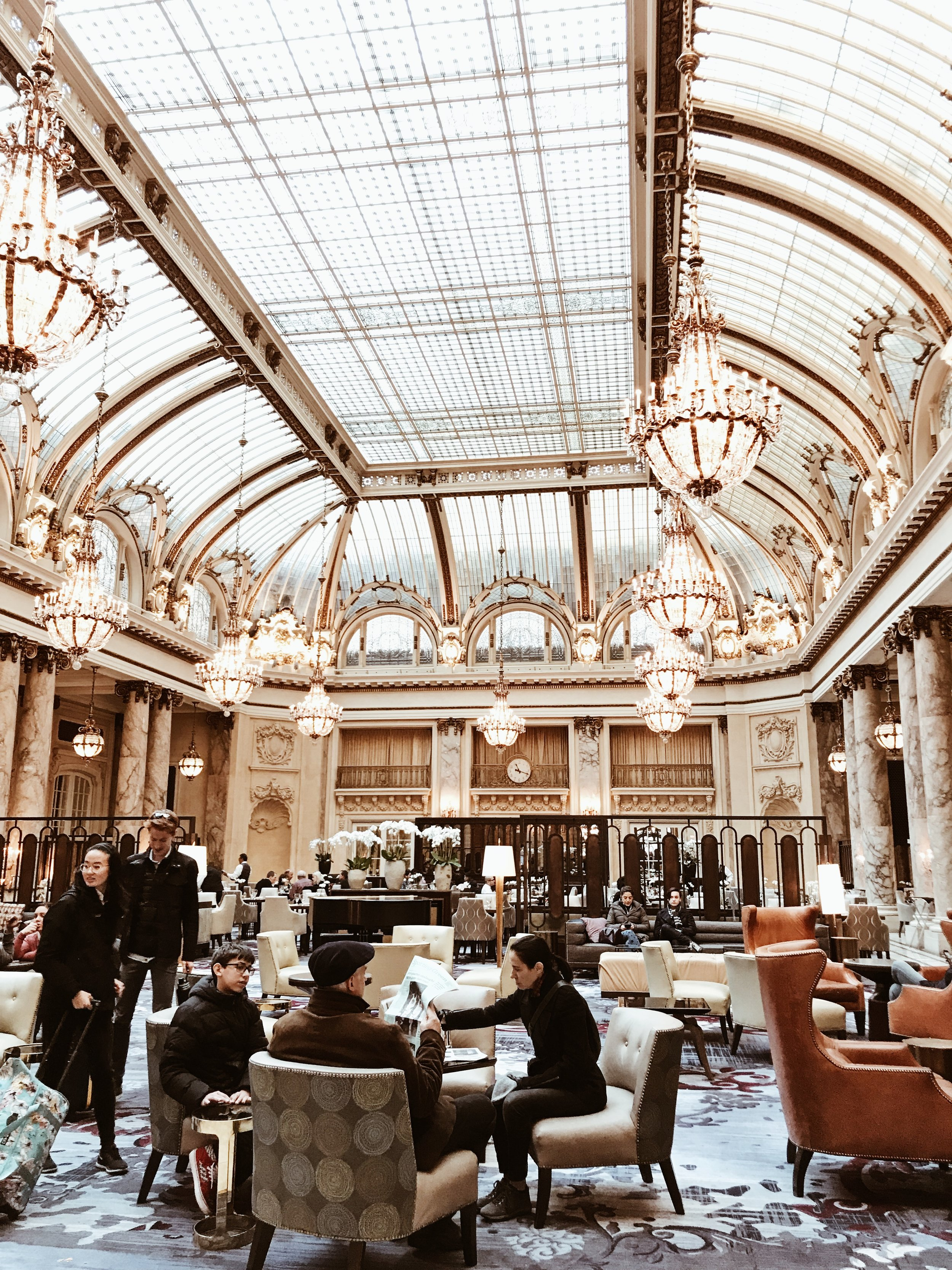 The hotel lobby at The Palace Hotel