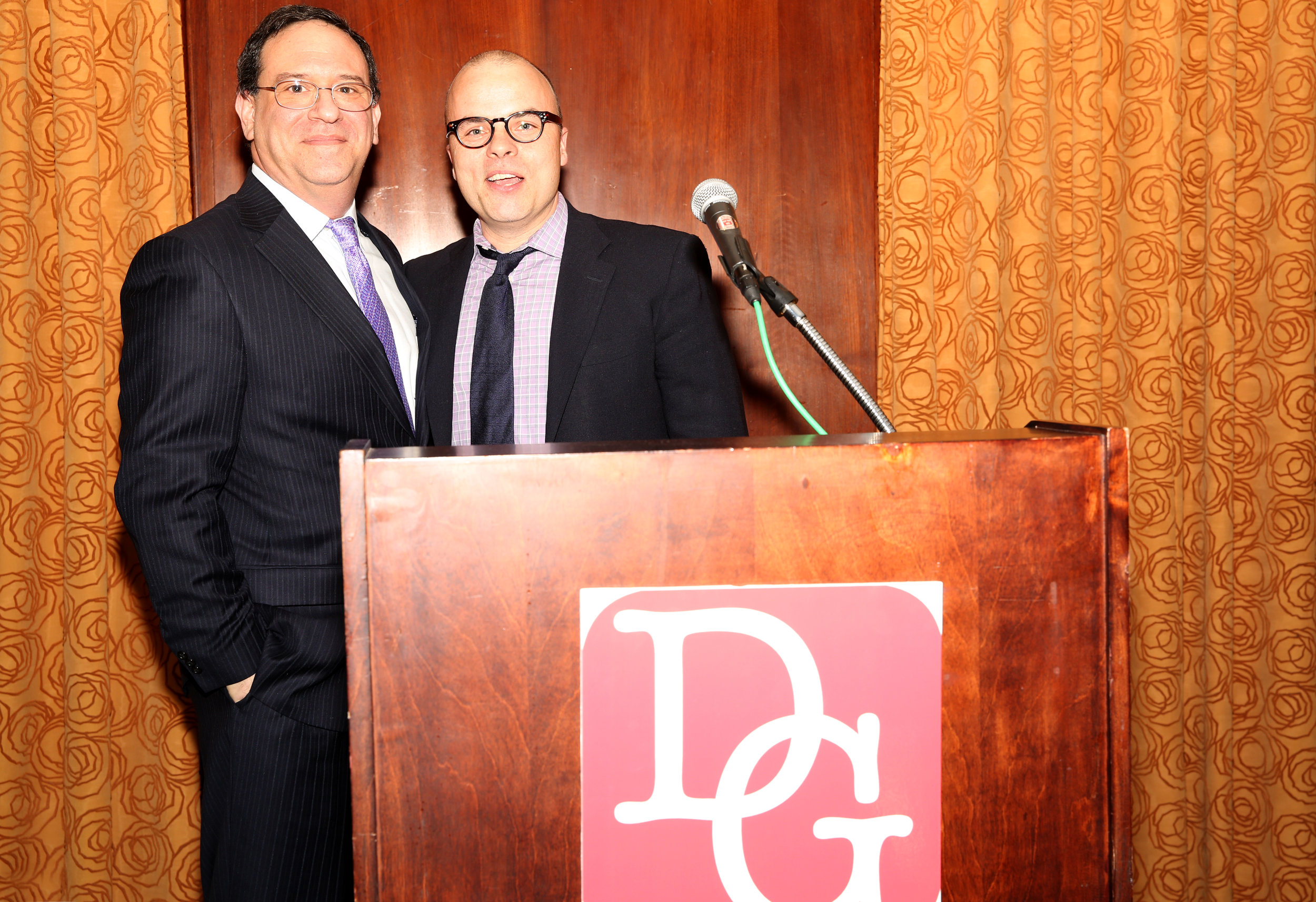 2015 Defender award winner Howard Sherman with DLDF Board member J.T. Rogers