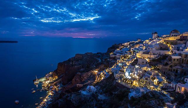 Oia, Santorini at dusk. . . . . . . . . . . . . #travel #traveltheworld #travelgreece #greece #islandlife #greekislands #backpacking #springseason #greekorthodox #traveleurope #travelphotography #travelphoto #instatravel #travelstagram #canon #canon6d #bluechurch #theglobeisbeautiful #travelblog #instagreece #santorinigreece  #oiasantorini #duskphotography #canonphotography #goldenhour #travelgreece #backpackingeurope #backpackeurope #landscapephotography #natgeoyourshot