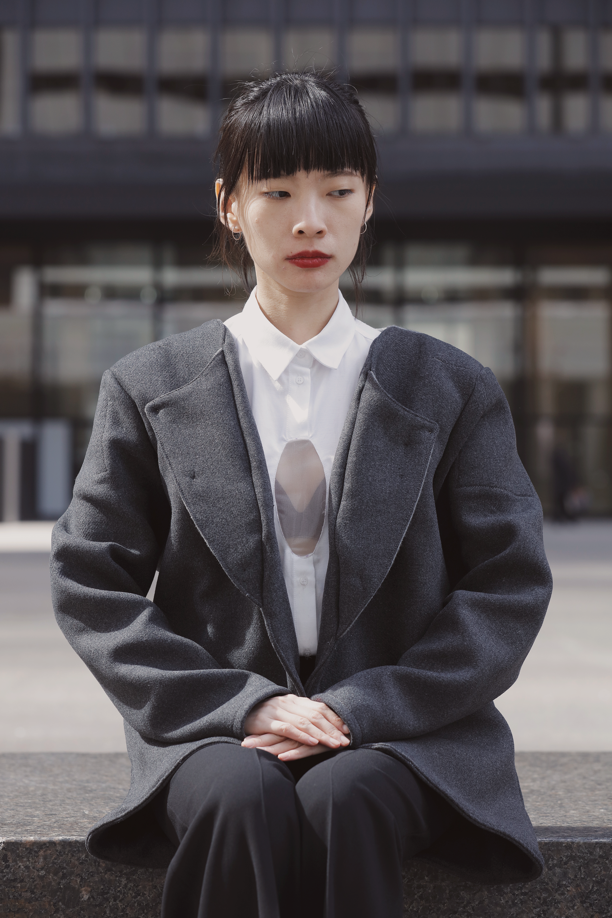 hormone lapel - the lapel opens when the wearer gets nervous and starts to sweat during an interviewit seduces the interviewer to the sexual image of a fantasized Asian