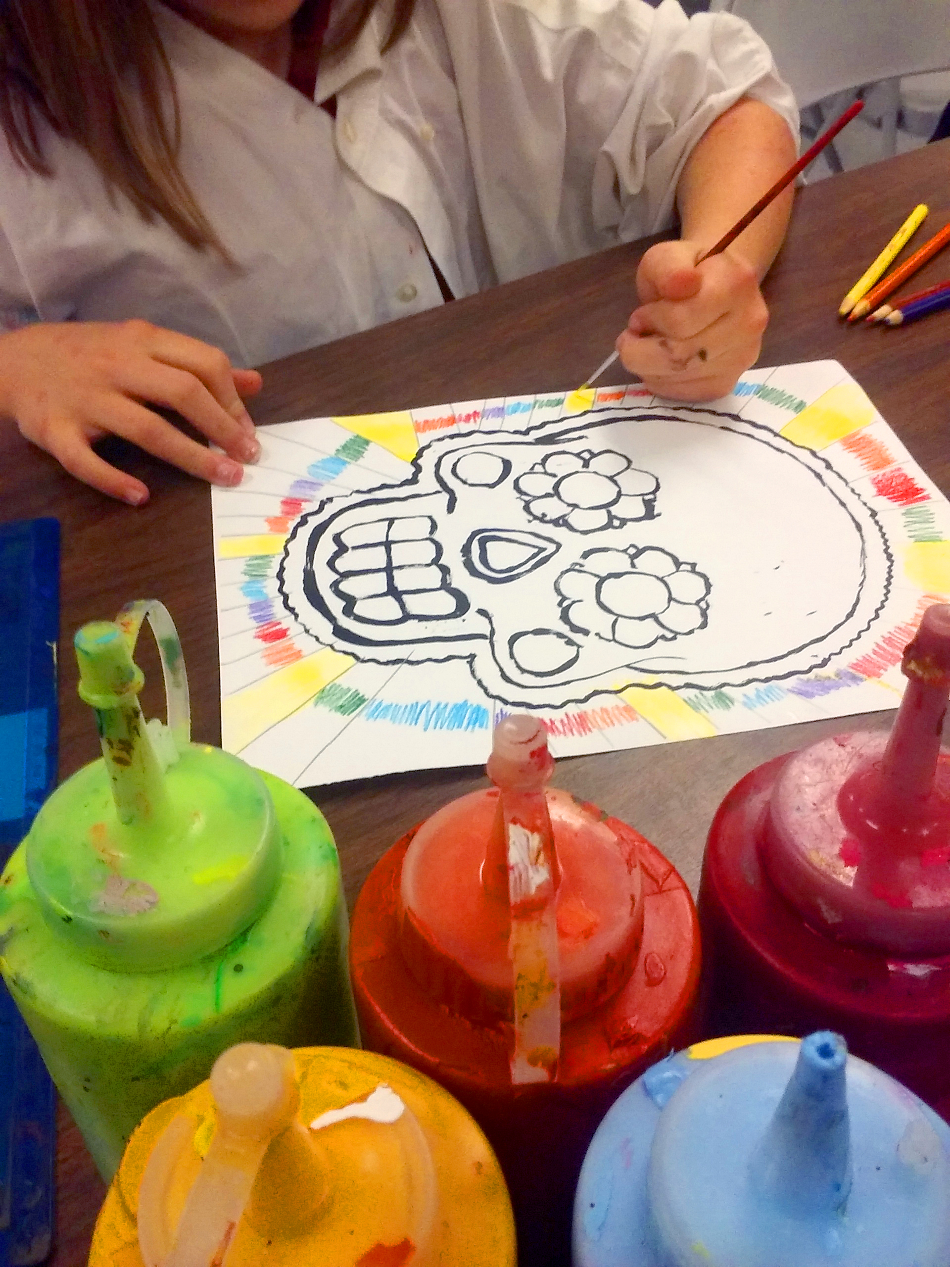 "Parks Elementary: Cultural painting study on ""Dia de los Muertos"""