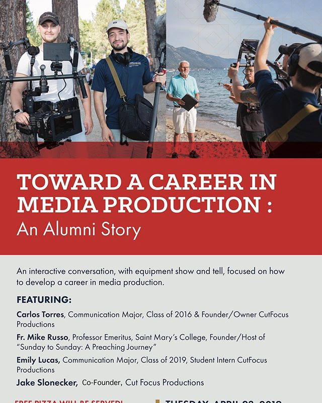@stmarysca is hosting an event that features our story on how we began our production company! If you're interested in our journey, please join us at this event! It's open to everyone so this is a great opportunity to meet and greet! We'll have our RED Helium 8k there and some other goods as well! See you there!  #videoproduction #cinematography #director #filmcrew #college #productioncompany #journey #college #alumni #saintmaryscollege #gael #media #mediaproduction #r3d #reddigitalcinema #shotonred #audioengineer