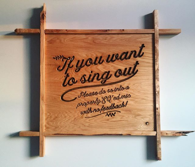 "For #sale. #nameyourprice #cnc #cut #wooden #text #sign w #custom #frame. ""If you want to sing out, please do so into a properly EQ'ed mic with no feedback"" . . . . . #wood #design #graphic #graphicdesign #modern #rustic #boho #chic #trendy #audio #audioengineering #livesound"
