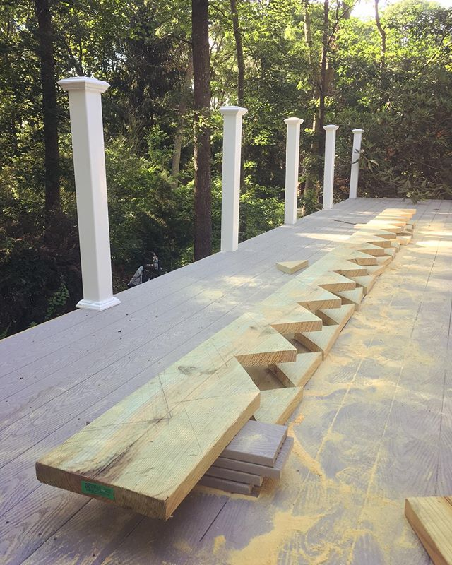 "My 14 step plan... 2x12"" #stringers for the #deck #stairs. #Taught myself how to #measure and #cut ""the most #difficult #part "" of and deck build . . . . #wood #lumber #carpentry #carpenter #construction #design #home #renovations #contractor #step #steps #trex"