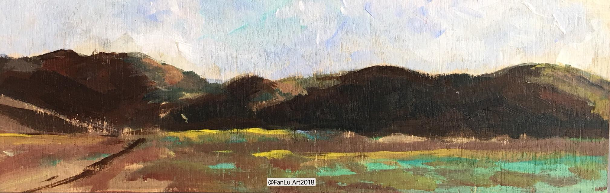 Artwork title: Sausalito field trip #1 Artist: Fan Lu ( Acrylic on wood, 3x9  inch)