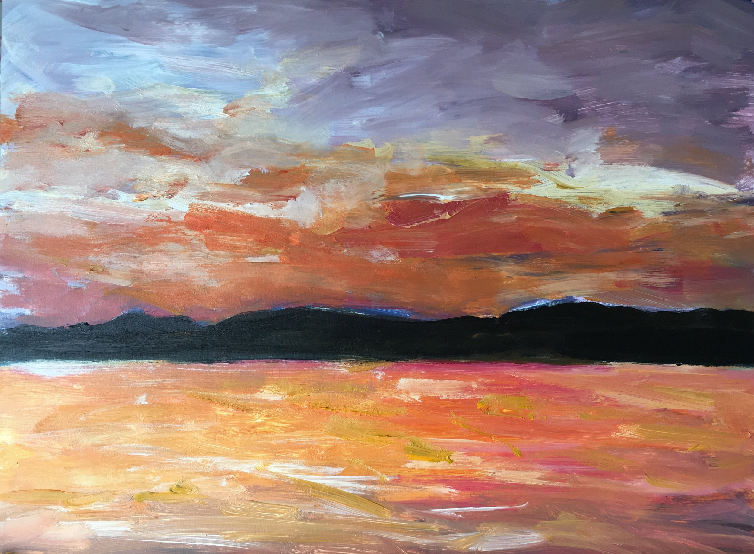 Artwork title: San Francisco Bay Ferry Sunrise Artist: Fan Lu ( Oil on canvas, 8x10  inch)