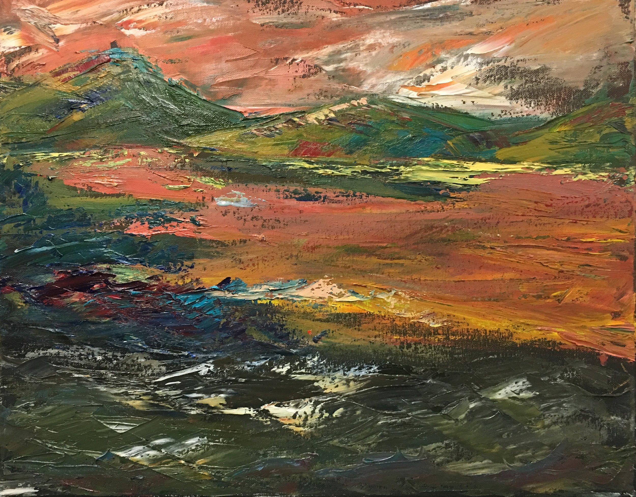 Artwork title: Norway Impression Artist: Fan Lu ( Oil on canvas, 14x18  inch)