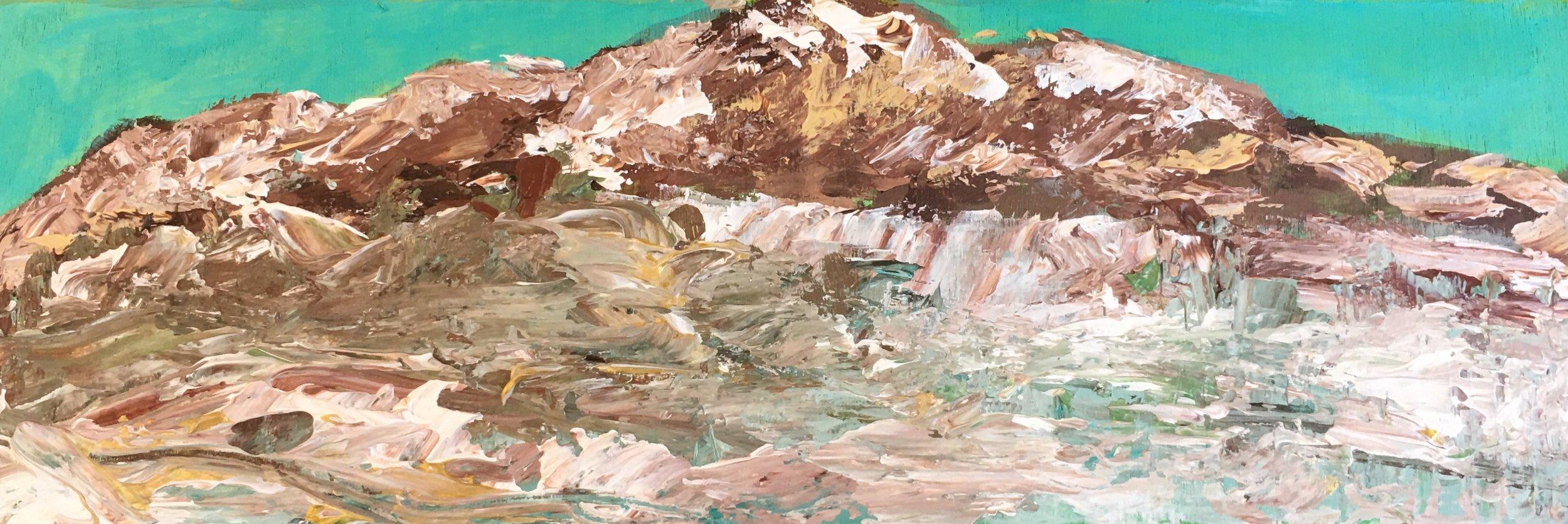 Artwork title: Alaska Arctic Circle Brooks Range Mountain Artist: Fan Lu ( Acrylic on Wood, 3x9  inch)