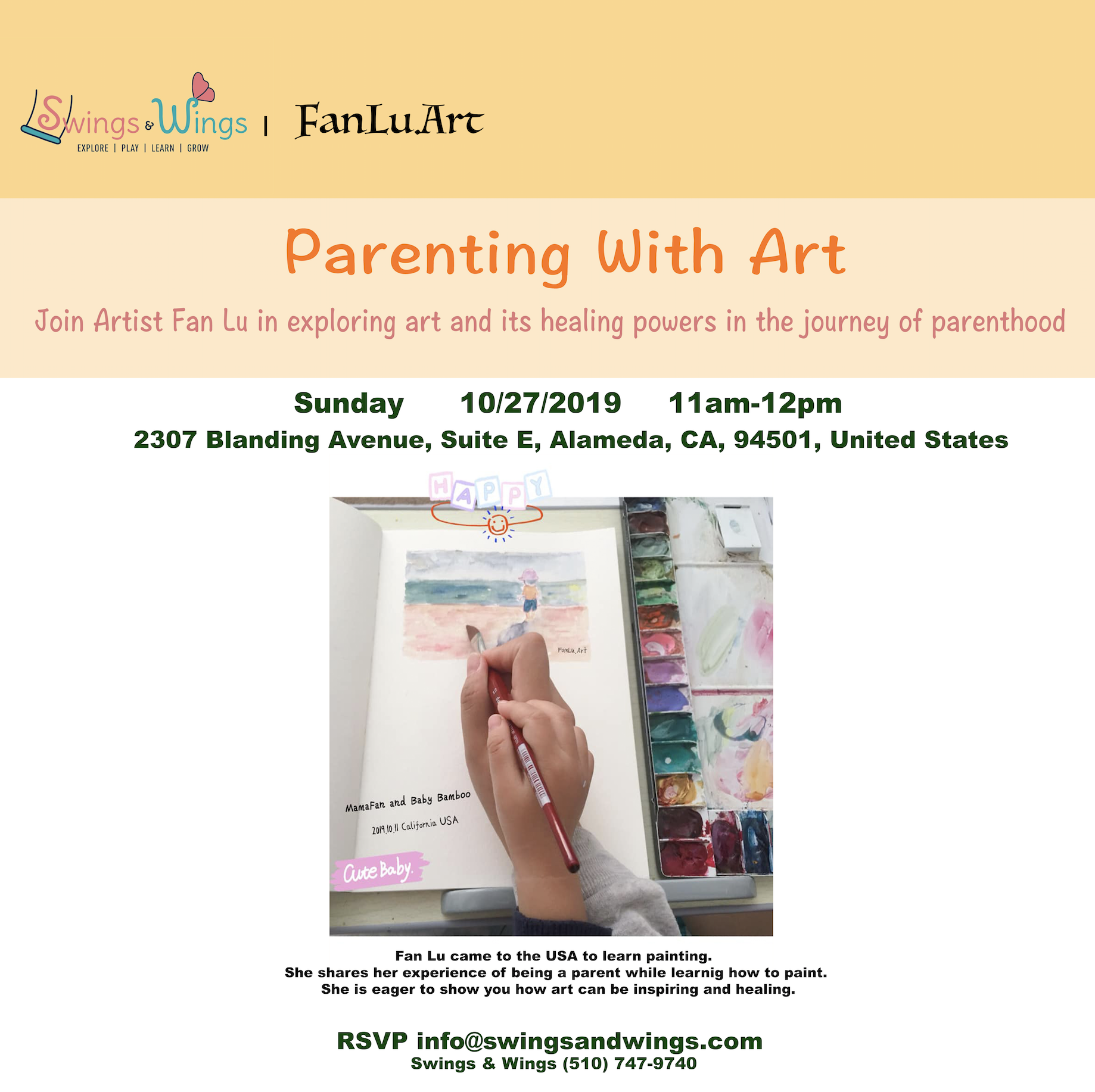 RSVP to info@swingsandwings.com - Join me in exploring art and its healing powers in the journey of parenthood. Art supplies will be provided.The event is free with paid daily entry.