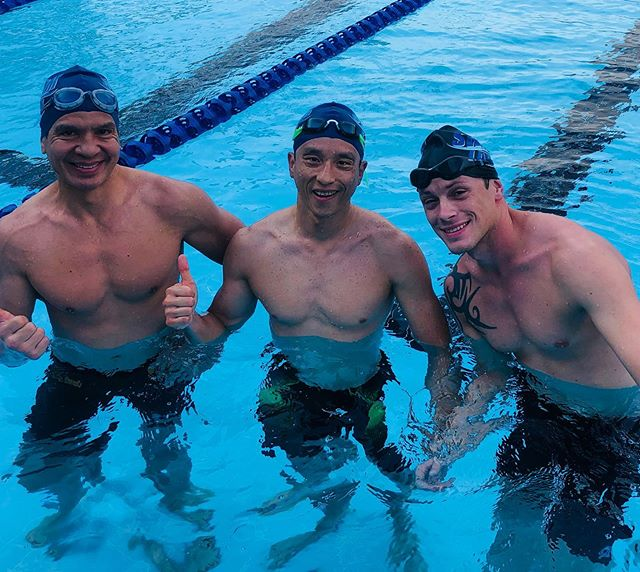 The 3 amigos.  All smiles at Swim Lab after completing a 4km threshold set!