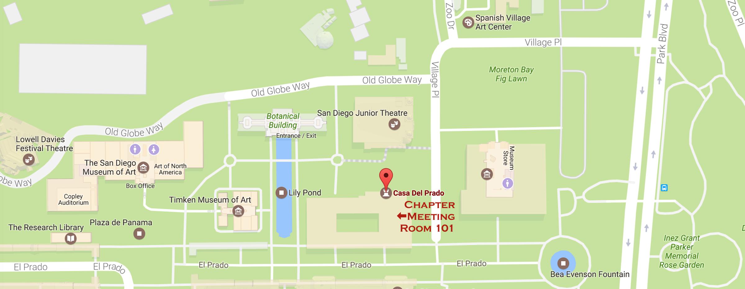Map showing location of Casa Del Prado Room 101