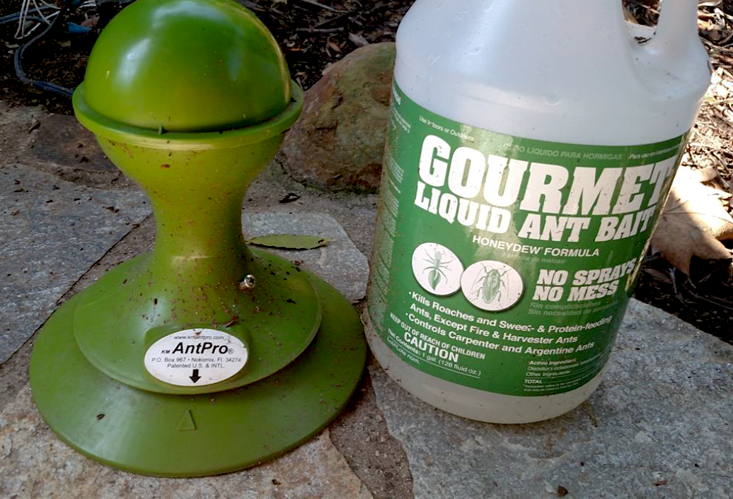 Figure 5. KM Antpro station and Gourmet Liquid Ant Bait.