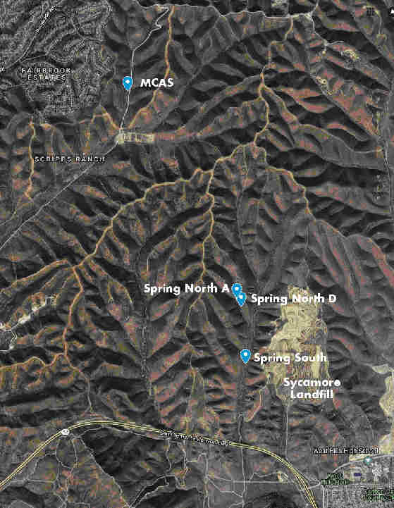 "Figure 1. Willowy Mint sites. We get to the three Spring Canyon sites through Mission Trails Regional Park, and the San Clemente Canyon (MCAS) site through the military base. My home (Appendix) is below the T in ""Fairbrook Estates""."