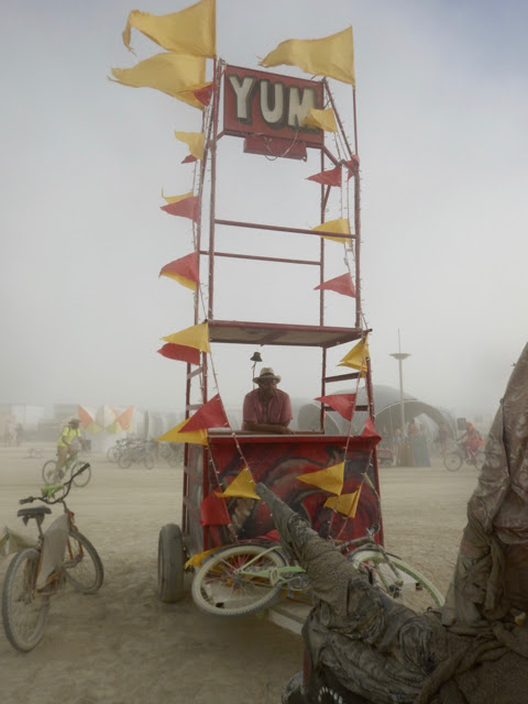 Sam in The Yum Cart during a dust storm.