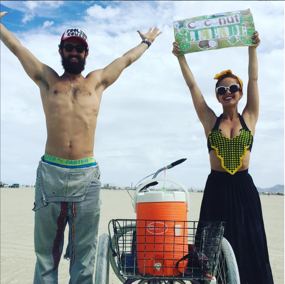 Lauren and I at Burning Man in 2016 serving Coconut Limeade to all in our path.