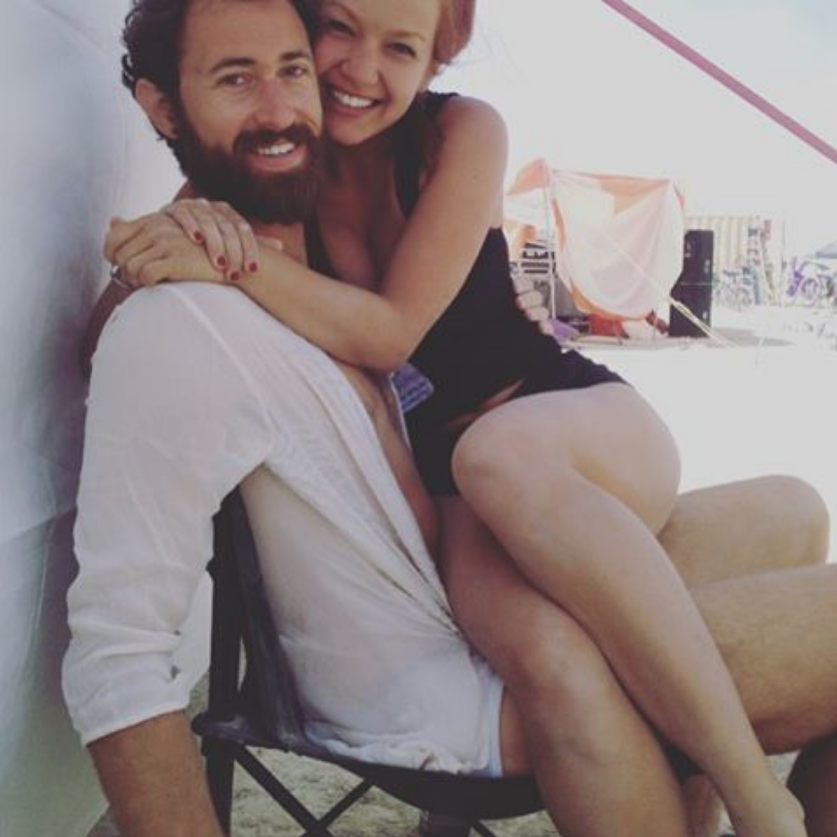 Lauren and I at Burning Man in 2015 practicing a day of silence.