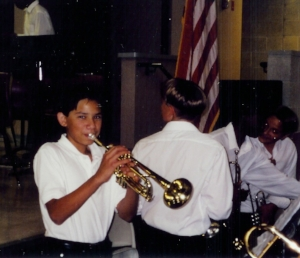 Miles playing trumpet in middle school.
