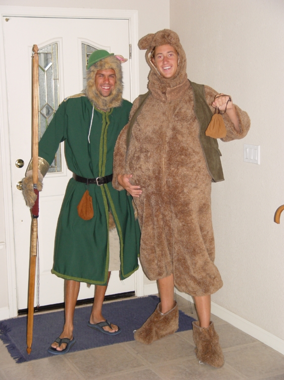 Five years later, we dressed up as Robin Hood and Little John our senior year.