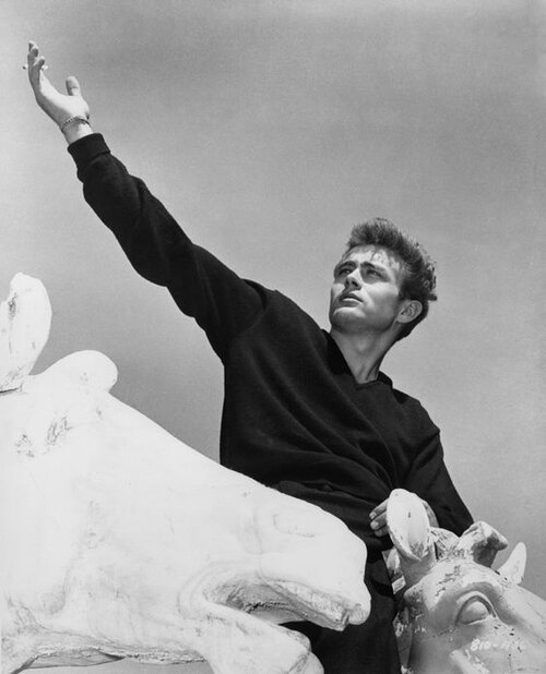 """Here we have James Dean being like, """"Looking cool is as easy as slipping on a cashmere v neck and climbing the nearest horse statue."""""""