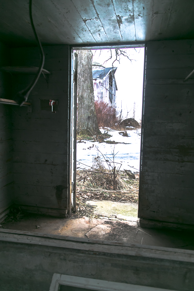 A view through the door of a large outhouse near the main house. This outhouse actually had a tub in it. Never seen that before. I think it is really old.