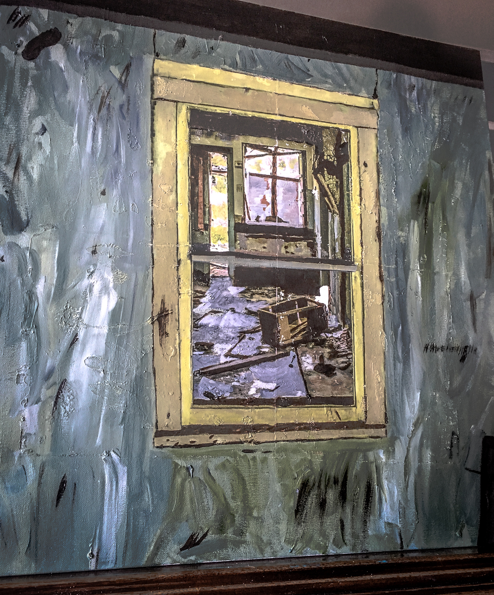 This started as a photograph of an abandoned living room from the outside looking in. It went from image transfer to oil paint and oil pastel on canvas.