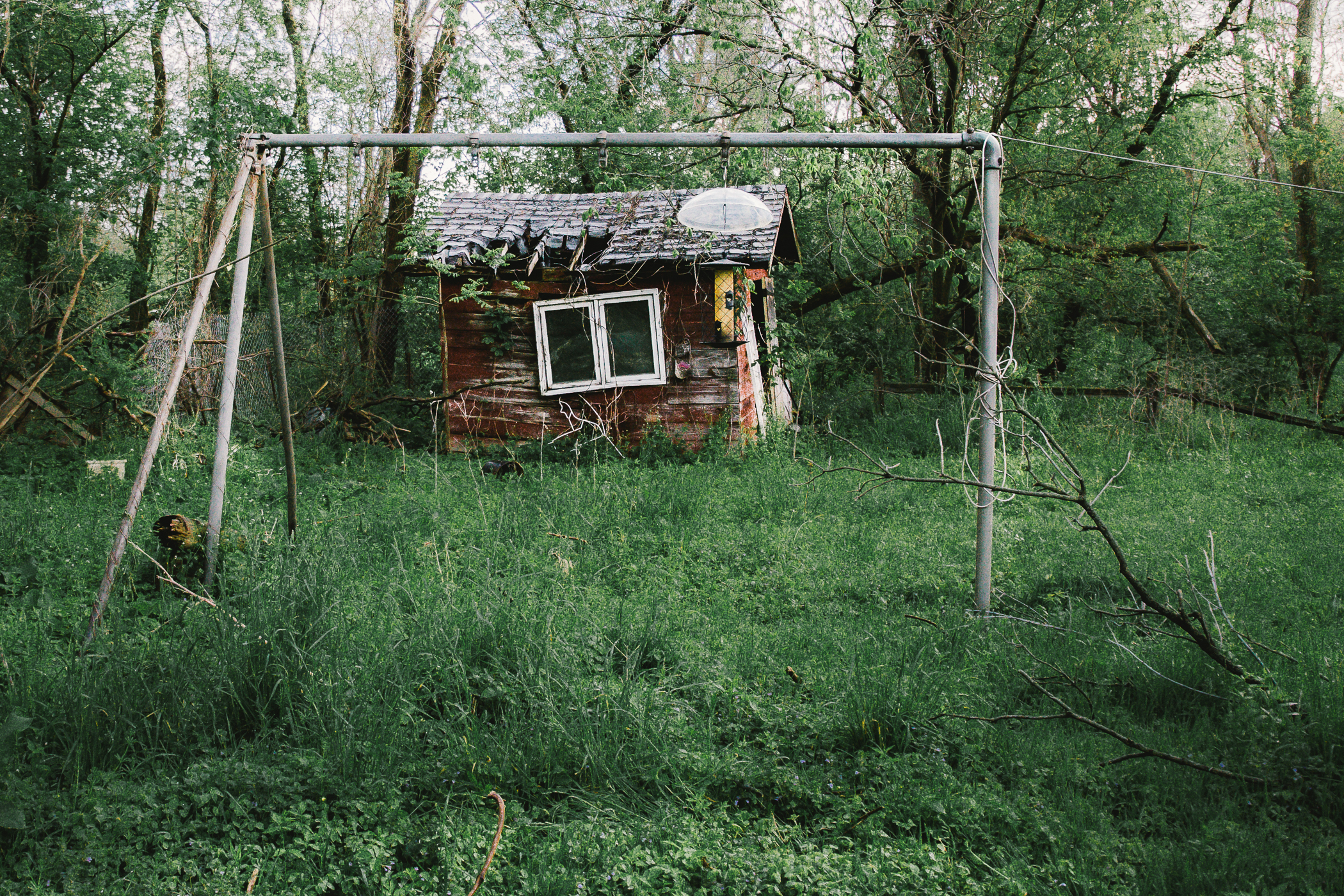 Rusty swingsets, bird feeders, sheds...