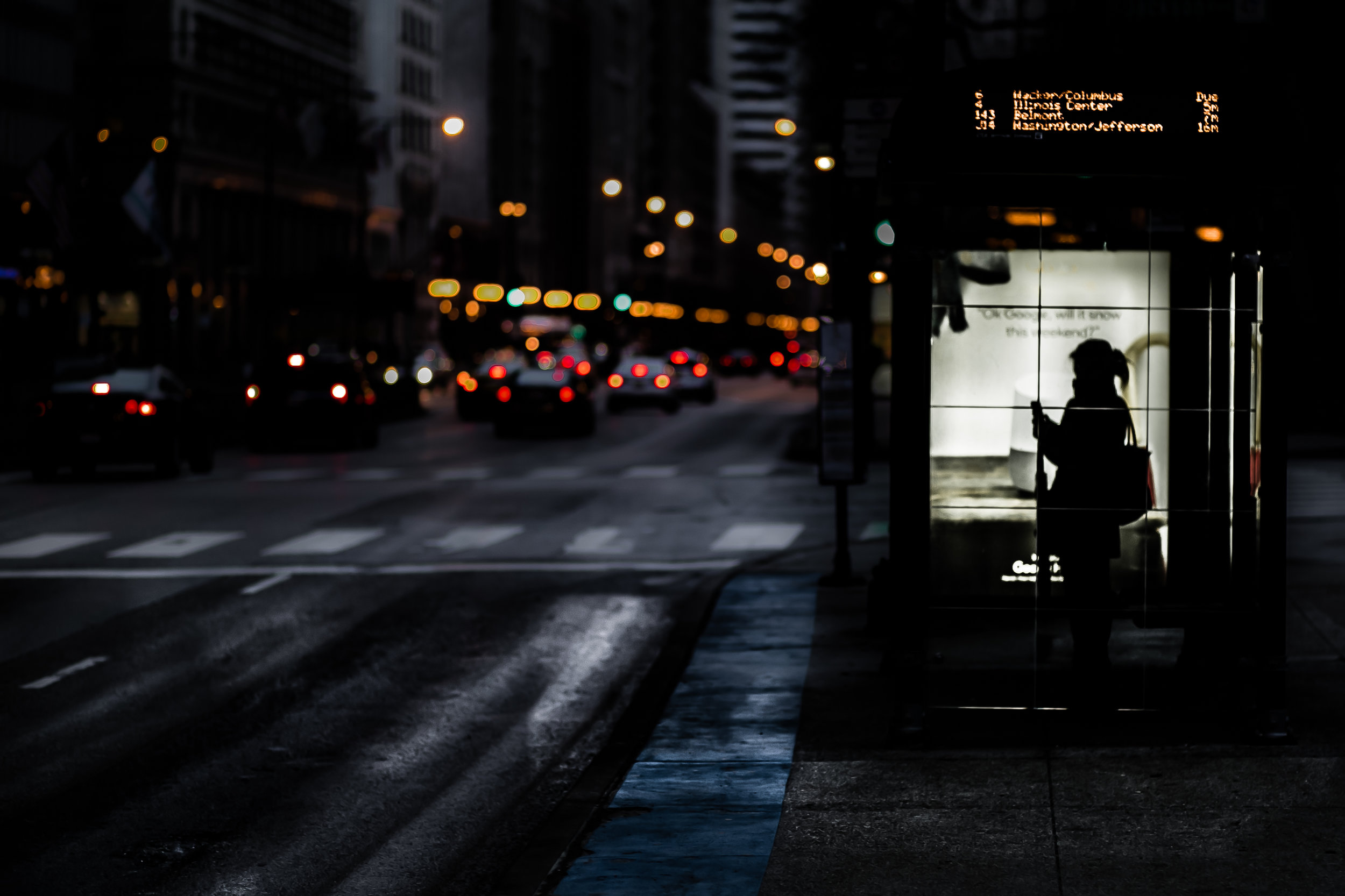 """Standing on the Corner, Waiting for a Bus"": 12x18 print, matted + framed in 16x20 frame, $200"