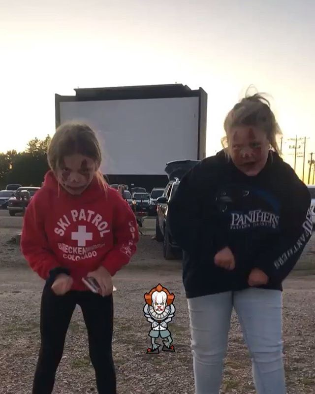 Full moon Friday the 13th double feature at the drive-in: Friday the 13th and It. What a great idea. 😂🤡 @mariamccandlesslyons @klyons.wdstck @jacksonlyons04 @mallory.lyonss @quincey._.b15 @max_beard34