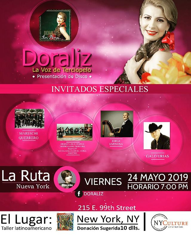 "Join us at El Taller on May 24th at 7:00 pm to see Doraliz perform material from her new multi-genre album along with other special musical guests. Come see ""La Ruta Nueva York."" #livemusic #concerts #mexicanmusic #musicaenvivo #conciertos"