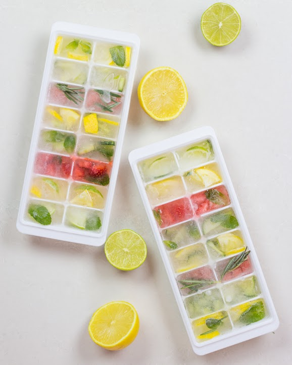 These ice cubes are pretty, full of colour and flavour. I used various quantities of rosemary, mint, lemon, lime, oranges, cucumber, strawberries, and watermelon to flavour the ice cubes.