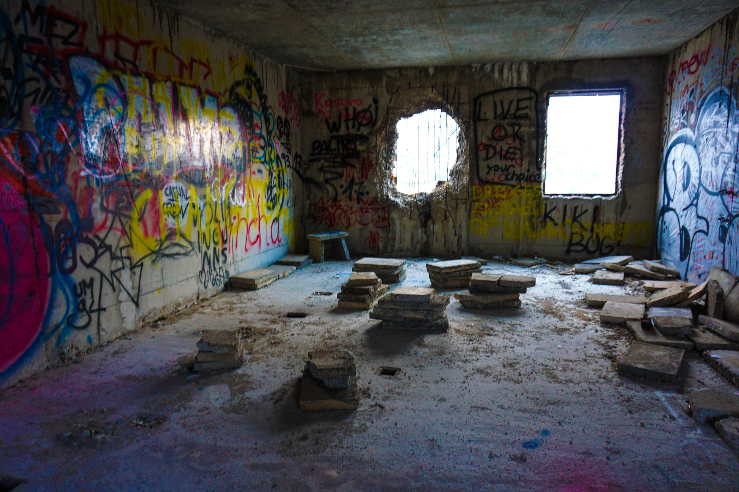 The building goes unmonitored, creating an outlet for younger generations to express themselves through graffiti.