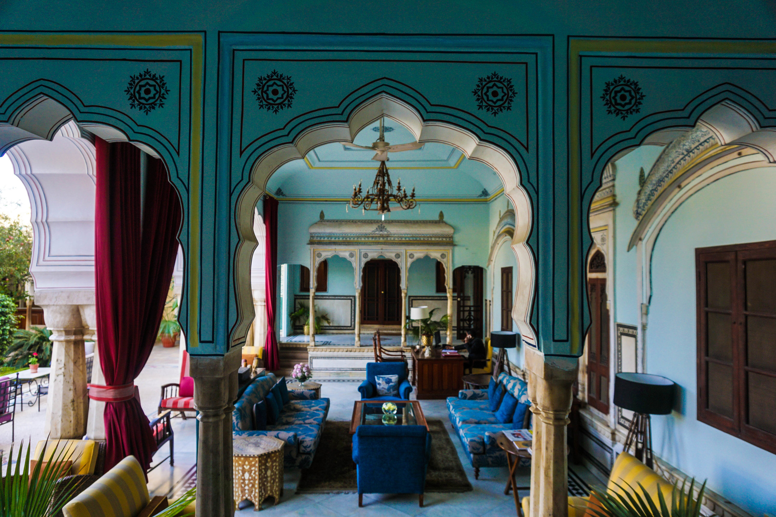 Beautiful blues at Samode Haveli