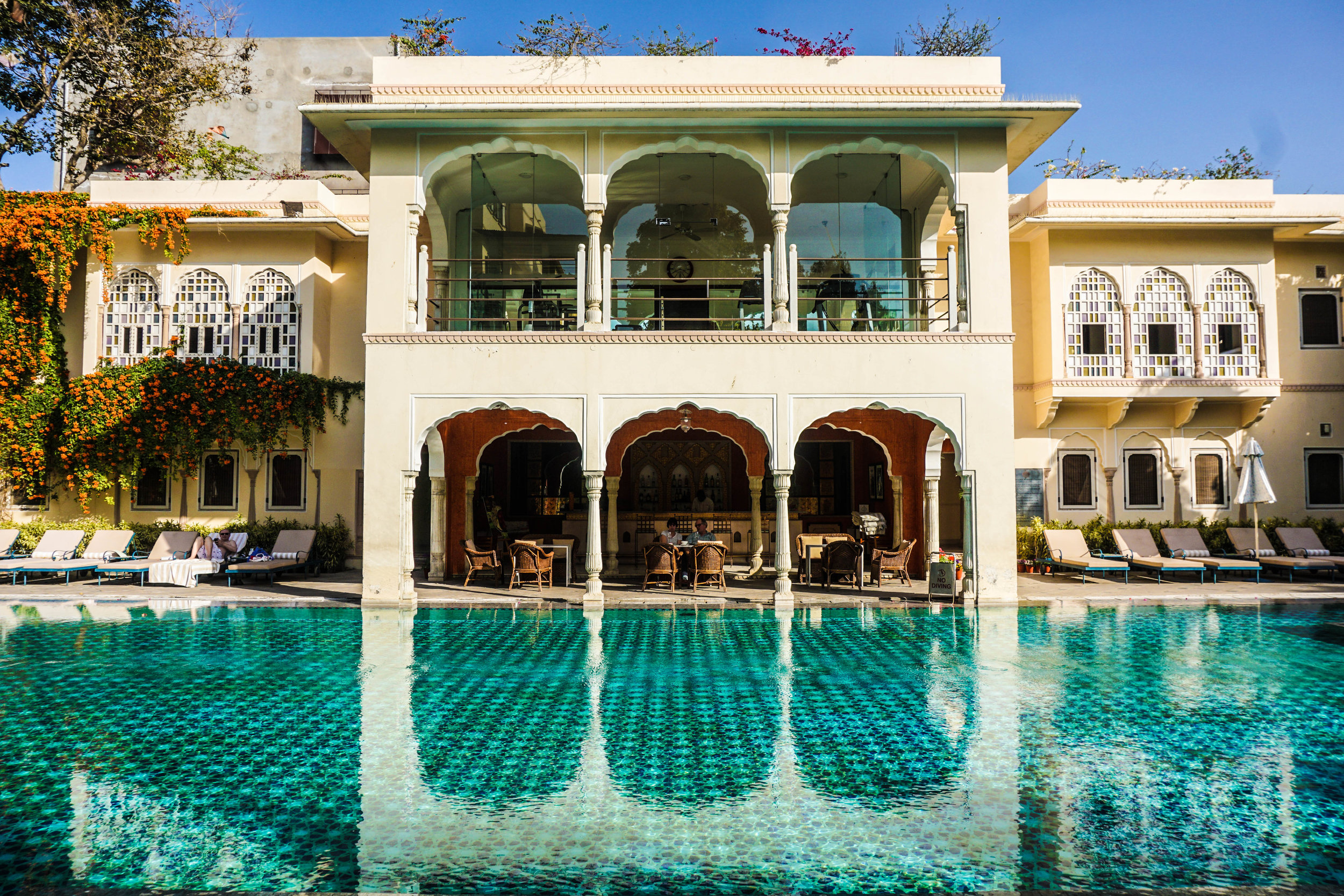 The pool at Samode Haveli is meant only for guests and residents