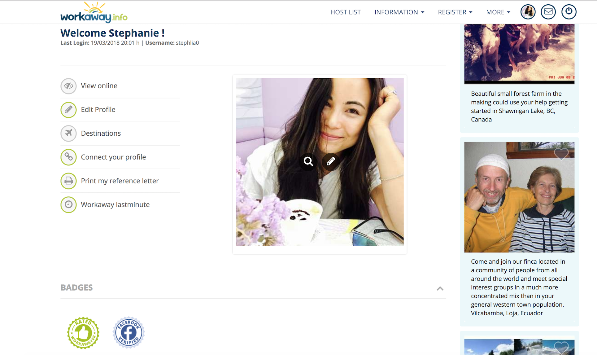 Here's what my profile page looks like on Workaway.info