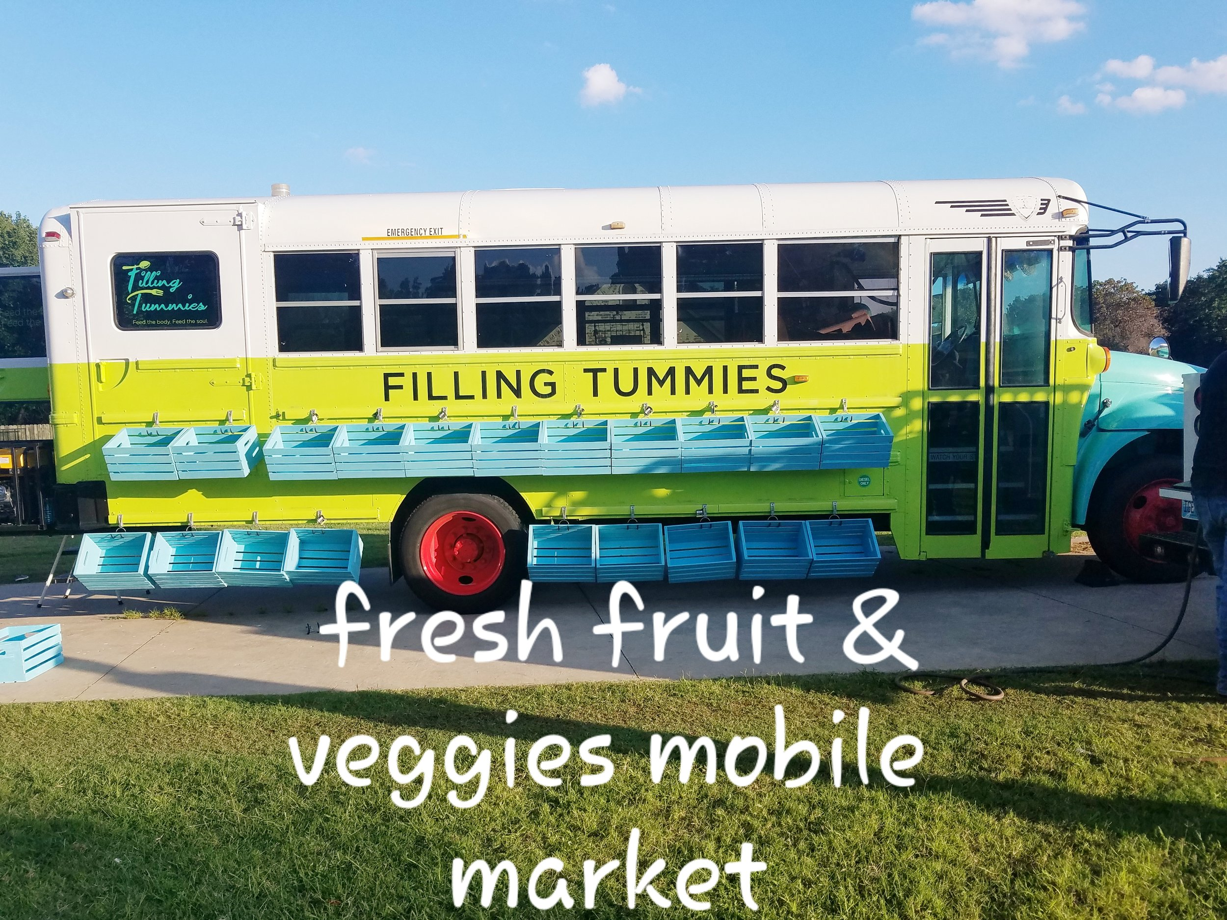 "Filling Tummies Mobile Market/Food Pantry provides FREE fresh foods and staples to underserved areas and food deserts. We are here to ""drive"" hunger out of Oklahoma!"
