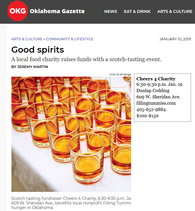 Oklahoma Gazette features Filling Tummies first annual Cheers 4 Charity fundraising event. Click picture to view the full text story.