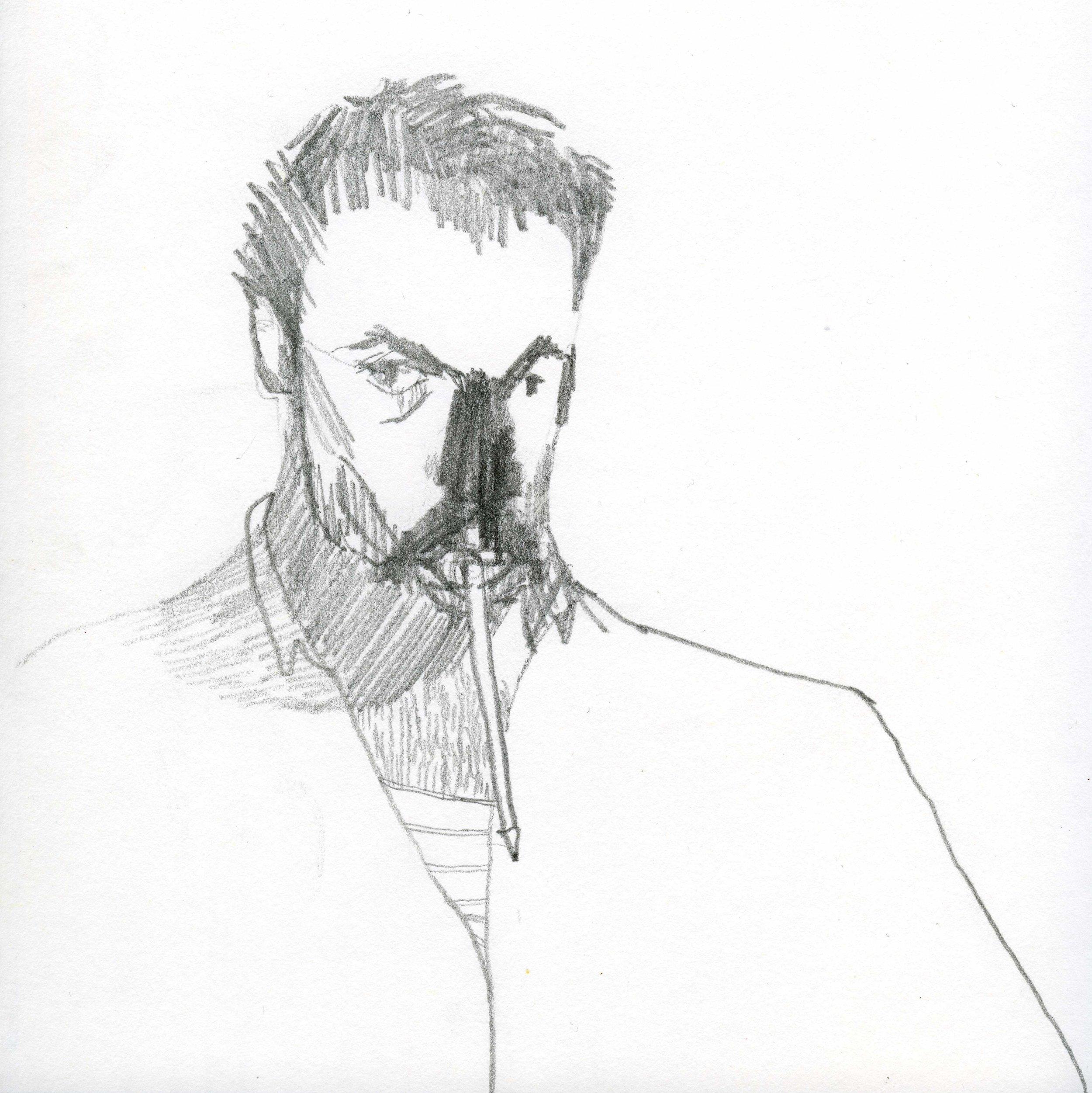 Self Portrait with a pencil  on paper 20 X 20 cm