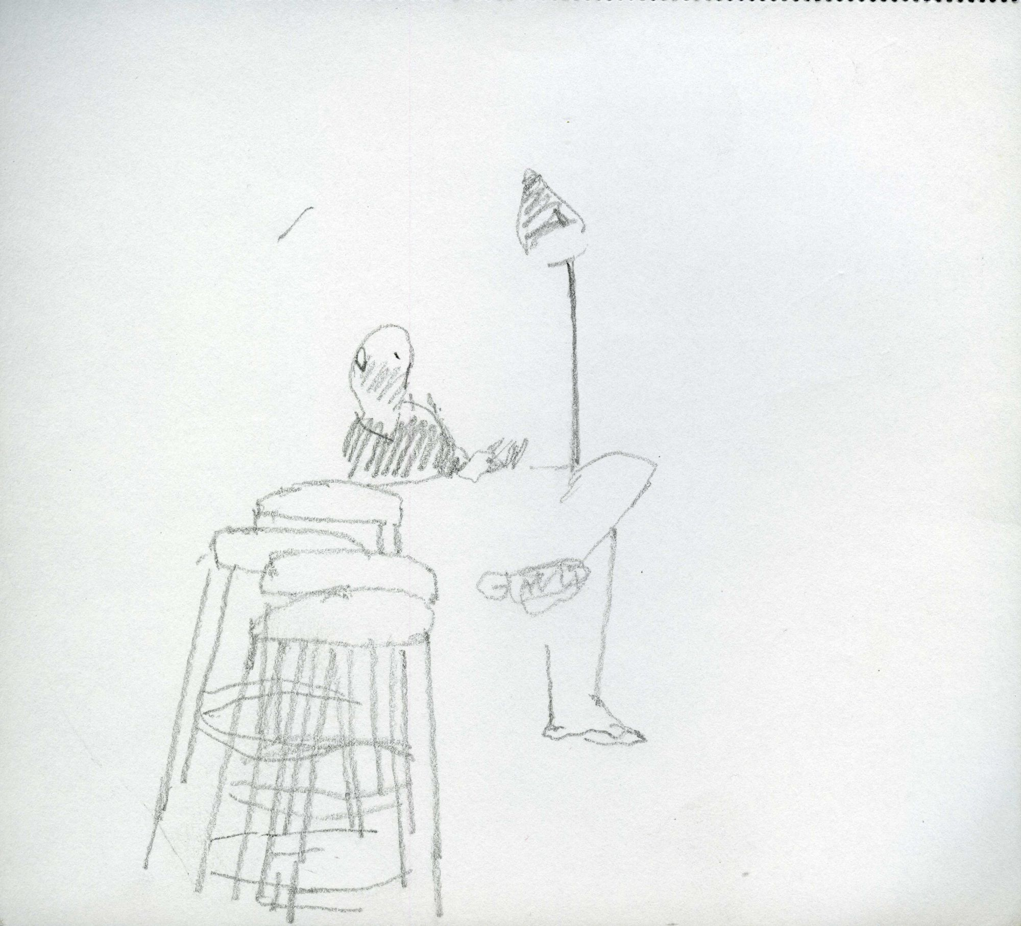 A lamp, three stools and a figure