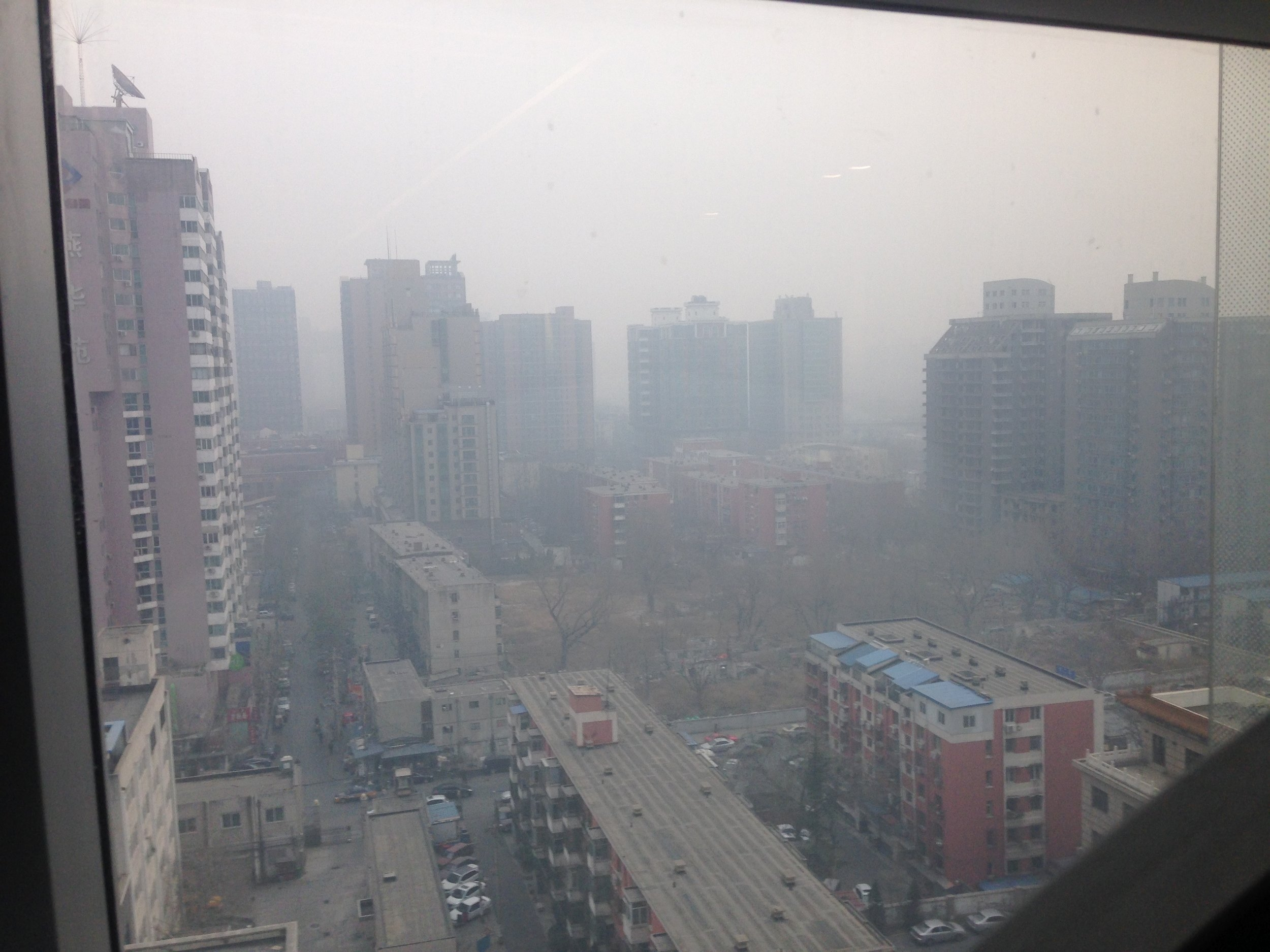 Bad smog day in downtown Beijing