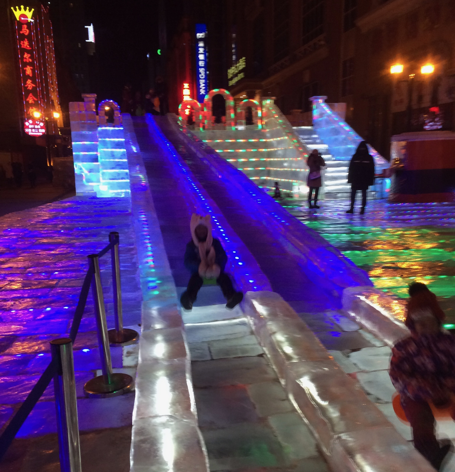One of the many slides through and around the giant ice sculptures