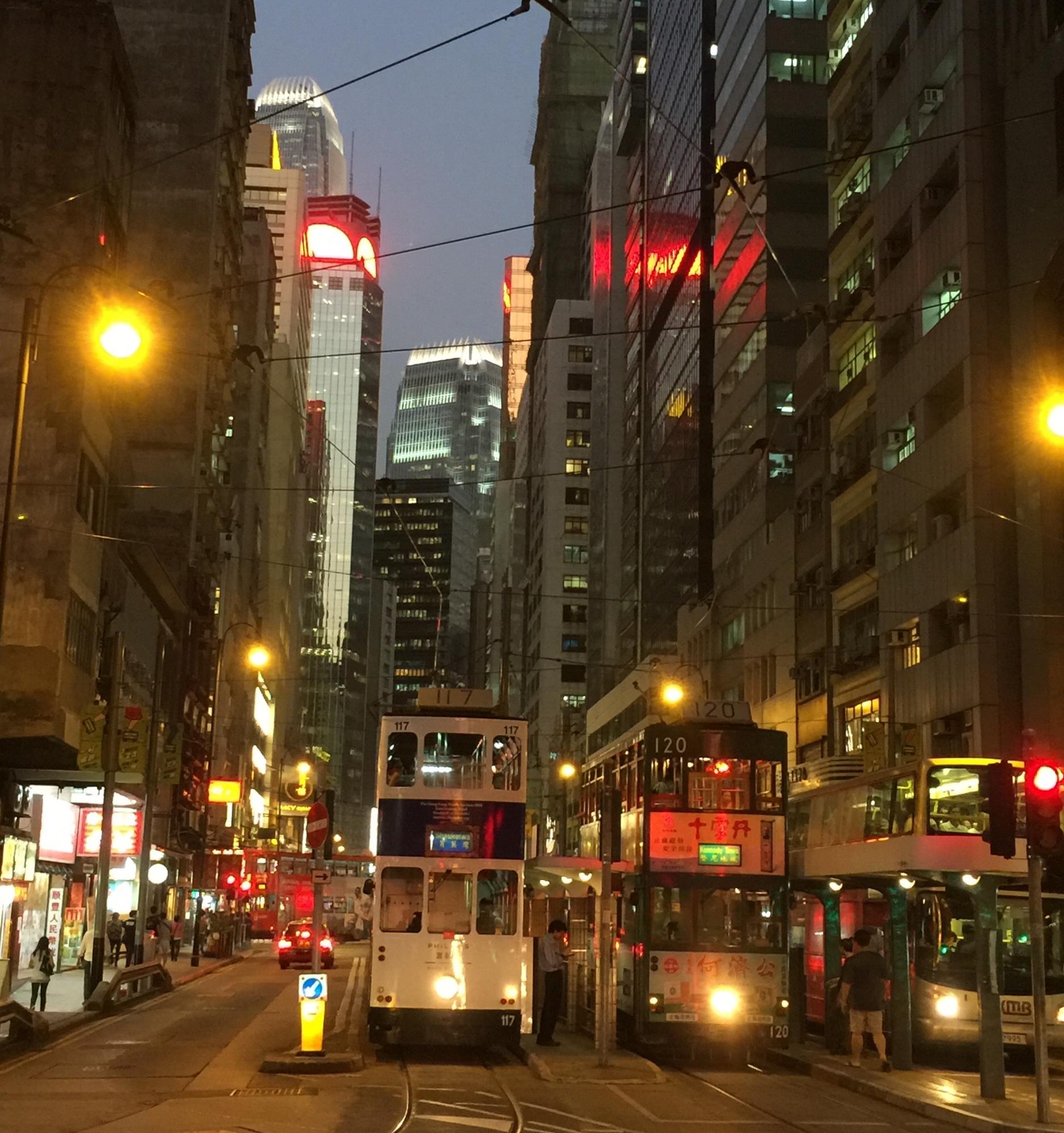 Trams in the Western District of Hong Kong Island, near Sheung Wan